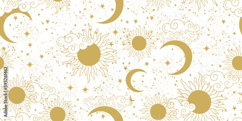 Fototapeta Seamless golden space pattern with sun, crescent, planets and stars on a white background. Mystical ornament of the mystical sky for wallpaper, fabric, astrology, fortune telling. Vector illustration obraz