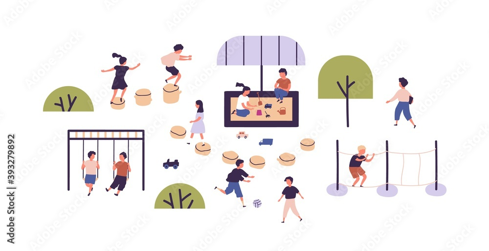 Fototapeta Kids playing games at modern playground in kindergarten. Children having outdoor activities. Boys and girls spending time together outside. Flat vector illustration on white background
