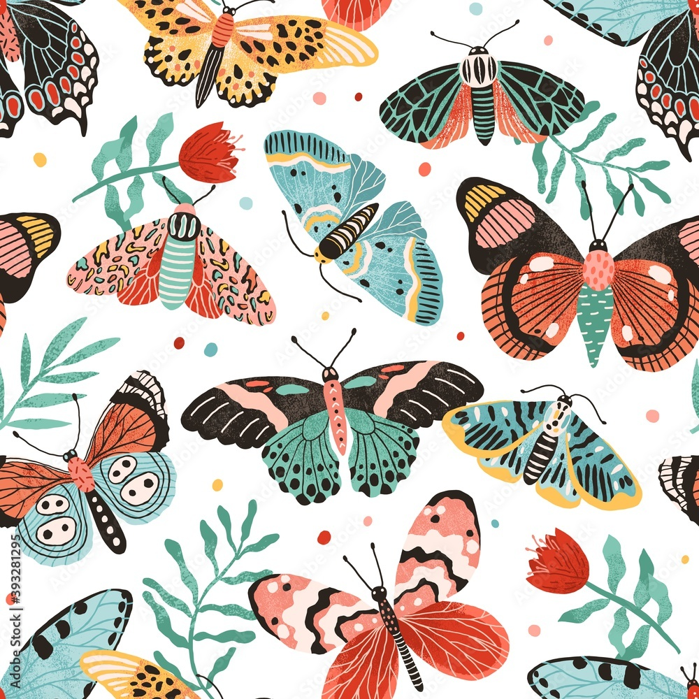 Fototapeta Seamless pattern with gorgeous butterflies and flowers isolated on white background. Decoration for wrapping paper or wallpaper. Design with flying moths. Endless colorful flat vector illustration
