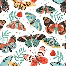 Seamless Pattern With Gorgeous Butterflies And Flowers Isolated On White Background. Decoration For Wrapping Paper Or Wallpaper. Design With Flying Moths. Endless Colorful Flat Vector Illustration