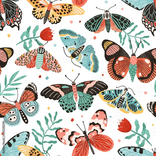 Obraz Seamless pattern with gorgeous butterflies and flowers isolated on white background. Decoration for wrapping paper or wallpaper. Design with flying moths. Endless colorful flat vector illustration - fototapety do salonu
