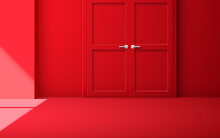 Red Door With Sunlight From Windows In The Red Room