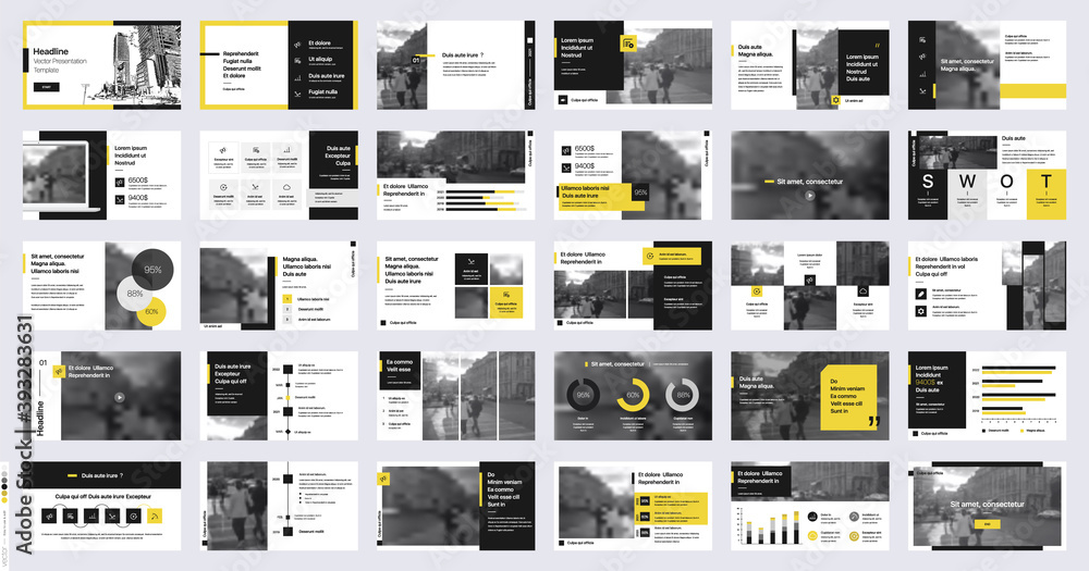 Fototapeta Geometric Yellow Presentation Element Templates. Vector infographics. For use in Presentation, Flyer and Leaflet, SEO, Marketing, Webinar Landing Page Template, Website Design, Banner.