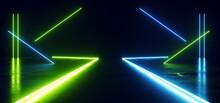 Sci Fi Futuristic Blue Green Neon Glowing Stage Podium Spaceship Path Catwalk Hangar Dark Concrete Empty Garage 3D Rendering