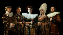 Medieval People As A Royalty Persons In Vintage Clothing Posing Proud And Confident On Dark Background. Concept Of Comparison Of Eras, Modernity And Renaissance, Baroque Style. Creative Collage.