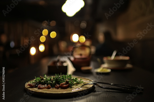 romance dinner restaurant table setting, background in abstract bar table food a Fototapeta