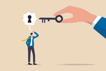 Business Support Or Help To Solve Problem, Clear And Unblock Work Obstacle Or Key To Unlock Business Idea Concept, Businessman Thinking With Idea As A Keyhole With Helping Hand Holding The Success Key