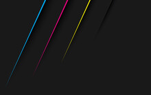 Black Abstract Modern Background With Lines In Cmyk Colors. Dark Corporate Design With Blank Place For Your Text. Modern Vector Illustration