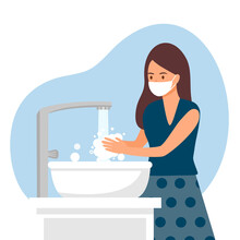 A Woman Washing Her Hands In The Sink Concept Vector Illustration. Washing Hands Under Faucet With Soap And Water. Virus And Germs Prevention Healthcare In Flat Design.