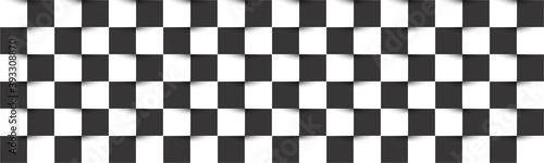 Black and white checkered header Fotobehang