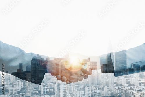Partnership handshake global corporate business concept