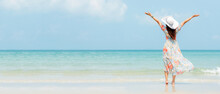 Summer Vacation. Lifestyle Woman Raise Arm And Hand On Wave Relax And Happy On Beach Tropical Outdoor In Summer Day. Young People Luxury And Destination In Holiday.