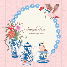Summer Garden Tea Party With Birds And Flowers Vector Frame Background