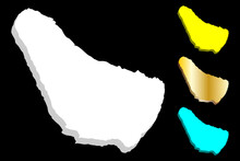 3D Map Of Barbados - White, Yellow, Blue And Gold - Vector Illustration
