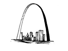 The Gateway Arch Vector Hand Drawn Black And White Illustration