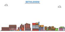United States, Bethlehem Cityscape Line Vector. Travel Flat City Landmark, Oultine Illustration, Line World Icons