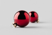 Two Red Glossy Christmas Balls...