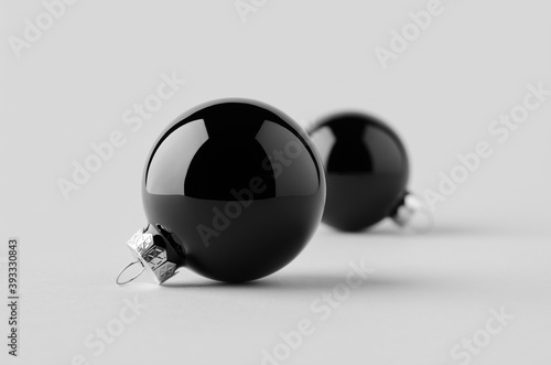 Two black glossy Christmas balls mockup on a seamless grey background Canvas