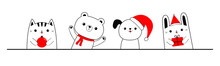 Cat Kitten Dog Bear Bunny Rabbit Animal Set Holding Gift Box, Xmas Ball. Merry Christmas. Cartoon Kawaii Character. Cute Face. Red Santa Hat, Scarf. Funny Baby Pet. Flat Design. White Background.