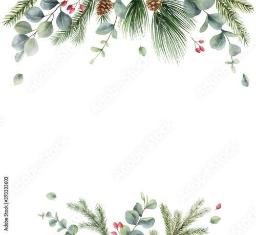Obraz Watercolor vector Christmas card with fir branches and eucalyptus. - fototapety do salonu