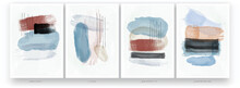 A Set Of Vector Illustrations. Abstract Watercolor Painting. Minimalistic Style, Pastel Colors, Scandinavian Style. Brush Strokes And Lines Drawn With A Brush.