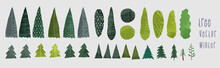 Vector Illustration. Winter Stylized Christmas Trees And Pines. Hand Drawn Trees Doodle Set Collection,  Different Trees In Scandinavian Style.