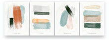 Abstract Watercolor Painting. Minimalistic Style, Pastel Colors, Scandinavian Style. Brush Strokes And Lines Drawn With A Brush. A Set Of Vector Illustrations.
