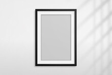 Mockup Black Frame Photo. Shadow On Wall. Mock Up Artwork Picture Framed. Vertical Boarder. Empty Board A4 Photoframe. Modern Stylish 3d Border For Design Prints Poster, Blank, Painting Image. Vector