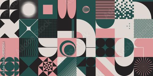 Papel de parede Neo Modernism Inspiried Artwork With Meta Design Geometric Pattern Composition