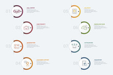Infographic Customer Service Template. Icons In Different Colors. Include Ivr, Solution, Touchpoint, Outsourcing And Others.