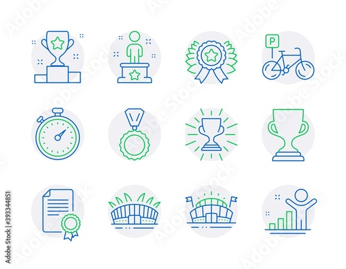 Sports icons set. Included icon as Trophy, Arena stadium, Sports arena signs. Winner cup, Success, Bicycle parking symbols. Timer, Medal, Award cup. Certificate, Winner ribbon line icons. Vector