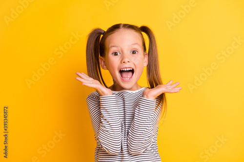 Slika na platnu Portrait of young excited shocked crazy smiling girl child kid hold hands isolat