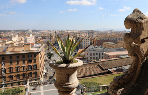 top view of the city of Rome with famous monuments and palaces