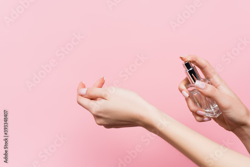 Fototapeta cropped view of woman holding bottle with luxury perfume isolated on pink obraz