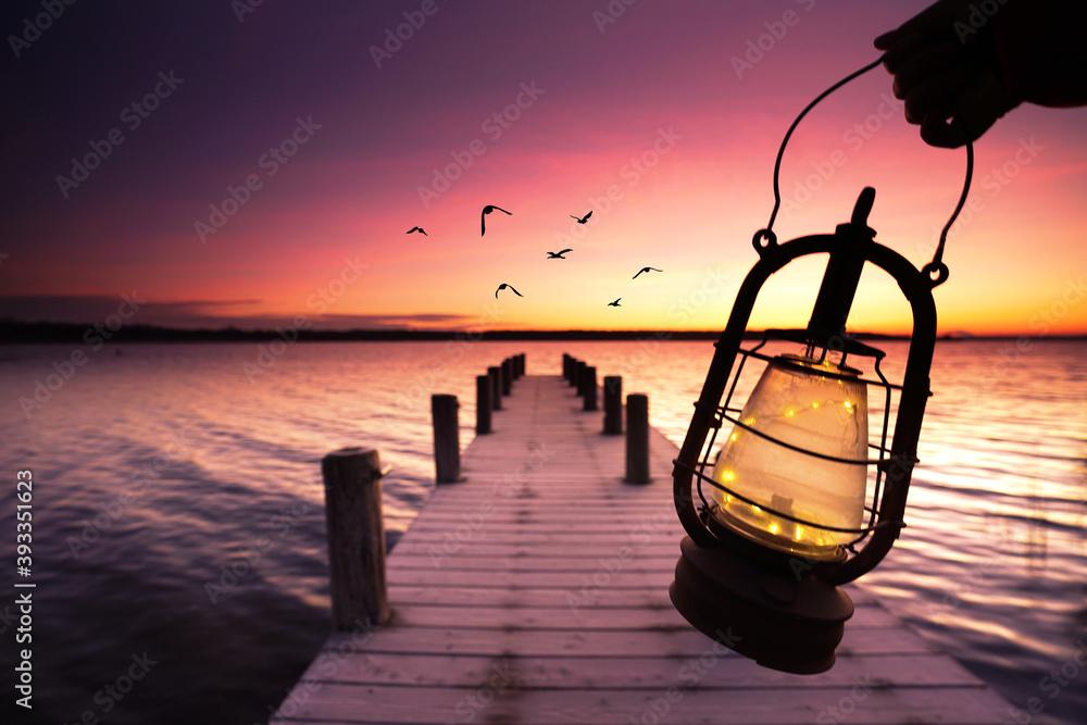 Fototapeta Sonnenaufgang am Steg