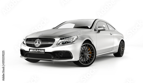 Almaty, Kazakhstan - March 25, 2020: MERCEDES C63S AMG Luxury Sports Coupe isolated on white background. 3d render