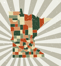 Minnesota Vintage Map. Grunge Poster With Map Of The Us State In Retro Color Palette. Shape Of Minnesota With Sunburst Rays Background. Vector Illustration.