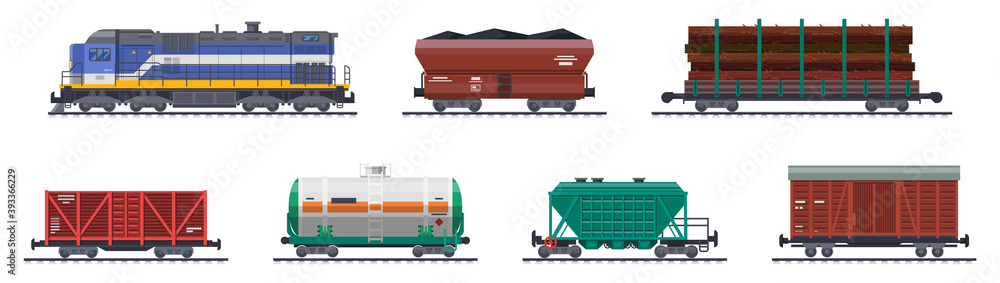 Fototapeta Train freight wagons, rail cargo and railroad containers, vector railway goods carriage transport. Train freight wagons with coal, tank cistern and boxcar platform, industrial carriages, side view