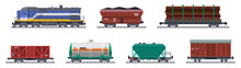 Train Freight Wagons, Rail Cargo And Railroad Containers, Vector Railway Goods Carriage Transport. Train Freight Wagons With Coal, Tank Cistern And Boxcar Platform, Industrial Carriages, Side View