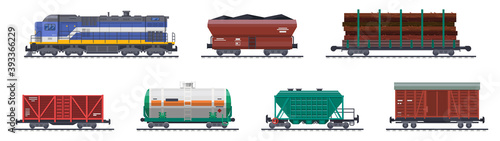 Fotografie, Obraz Train freight wagons, rail cargo and railroad containers, vector railway goods carriage transport