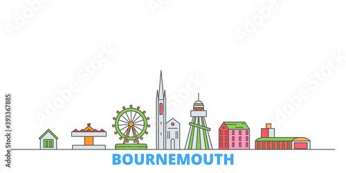 United Kingdom, Bournemouth cityscape line vector Fototapeta