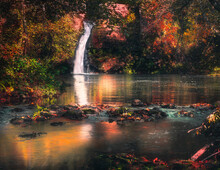 Little Waterfall With Autumn L...