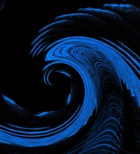 Shades Of Bright Neon Blue And Indigo Colored  Intricate Abstract Wave Patterns Shapes And Design On Black Background