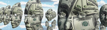 Surreal Digital Art. Womans Masks With Dollars Pattern Hovers In Cloudy Sky. 3D Rendering