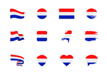 Flags Of Netherlands - Flat Collection. Flags Of Different Shaped Twelve Flat Icons.