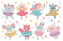 Animal Fairy Ballerina. Princess Unicorn, Bunny And Koala With Ballet Tutu, Wings And Wand. Elephant Crown Dance. Vector Ballerina And Ballet Adorable Koala Elephant, Sheep In Crown Illustration