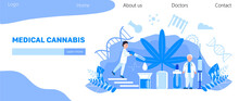 Medical Cannabis Concept Vector. Tiny Doctors Show Advantages Of Medical Marijuana, Cannabinoids Medicinal Drugs. Bottle With CDB Oil. Health Care Homepage, Template