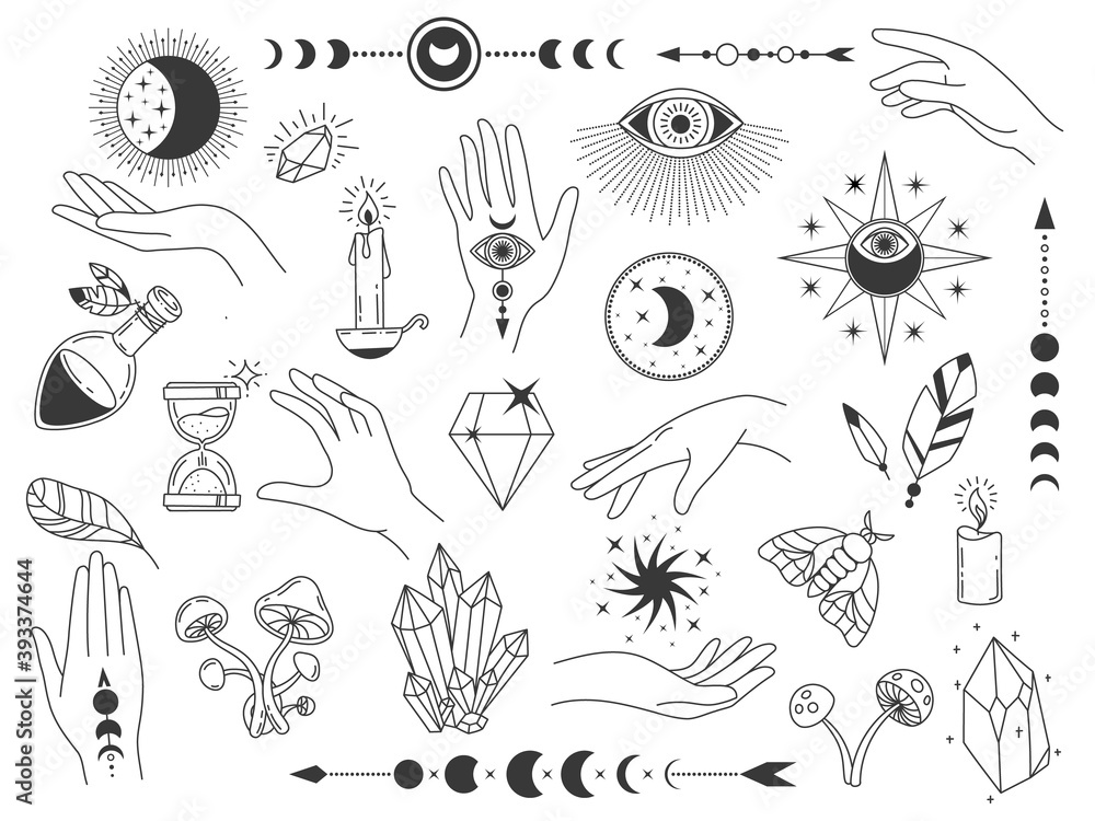 Fototapeta Boho mystic elements. Witch magic vintage logos with crystals, hands, moon and eyes. Outline spiritual and esoteric tattoo design vector set. Illustration magic tattoo, mystic boho esoteric