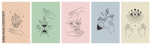 Fototapeta Mystical line hands. Minimalist esoteric moon, crystals, hourglass symbols for tattoo print. Boho astrology hand. Mystic app vector concept. Illustration tattoo boho, witchcraft esoteric banner sketch obraz