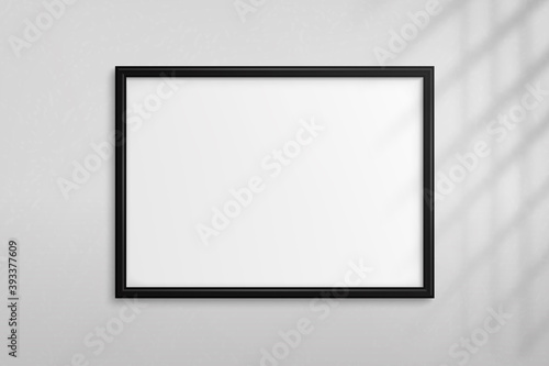 Mockup black frame photo. Shadow on wall. Mock up artwork picture framed. Horizontal boarder. Empty board a4 photoframe. Modern stylish 3d border for design prints poster, painting image. Vector